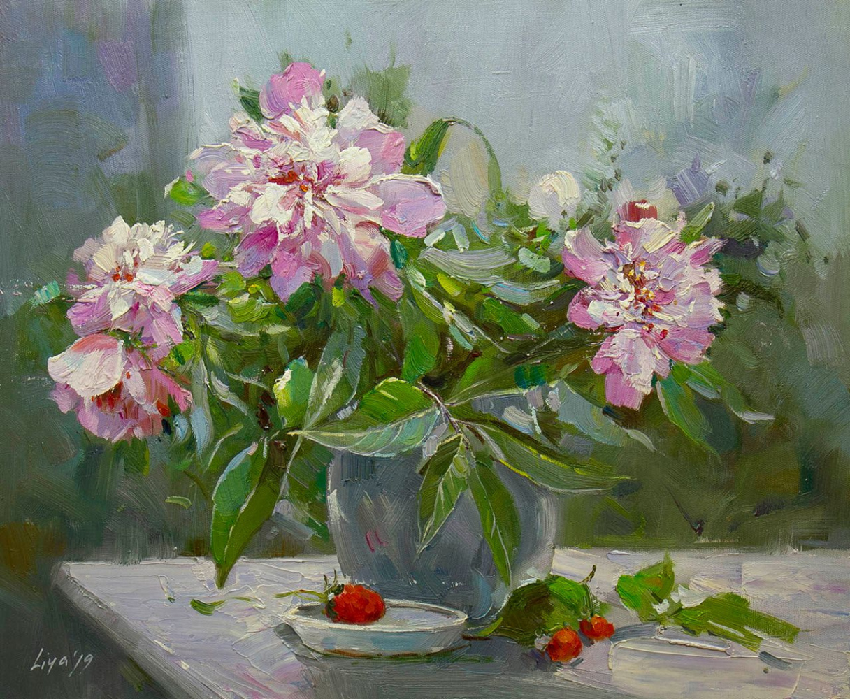 Savely Kamsky. A bouquet of garden peonies in a vase