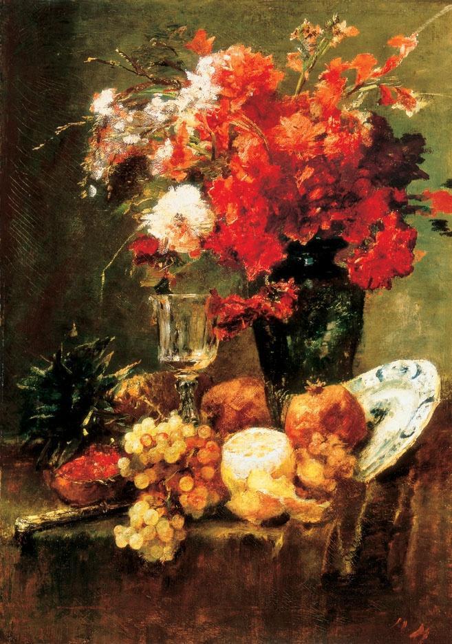 Михай Либ Мункачи. Натюрморт с цветами и фруктами