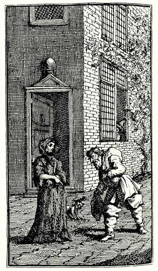 Уильям Хогарт. Гудибрас убирает двор вдовы