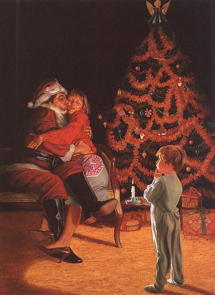 Mara Makafi. Santa near Christmas tree