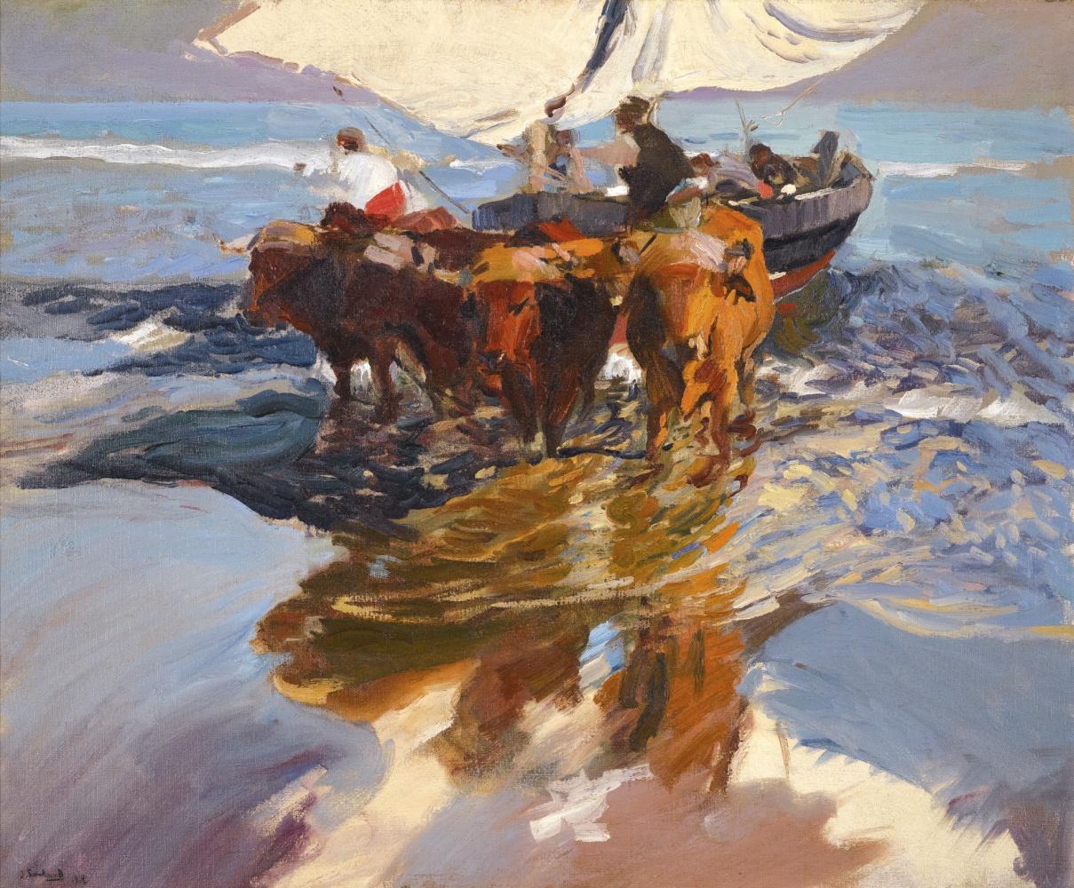 Хоакин Соролья (Соройя). Возвращение с рыбалки. Пляж в Валенсии