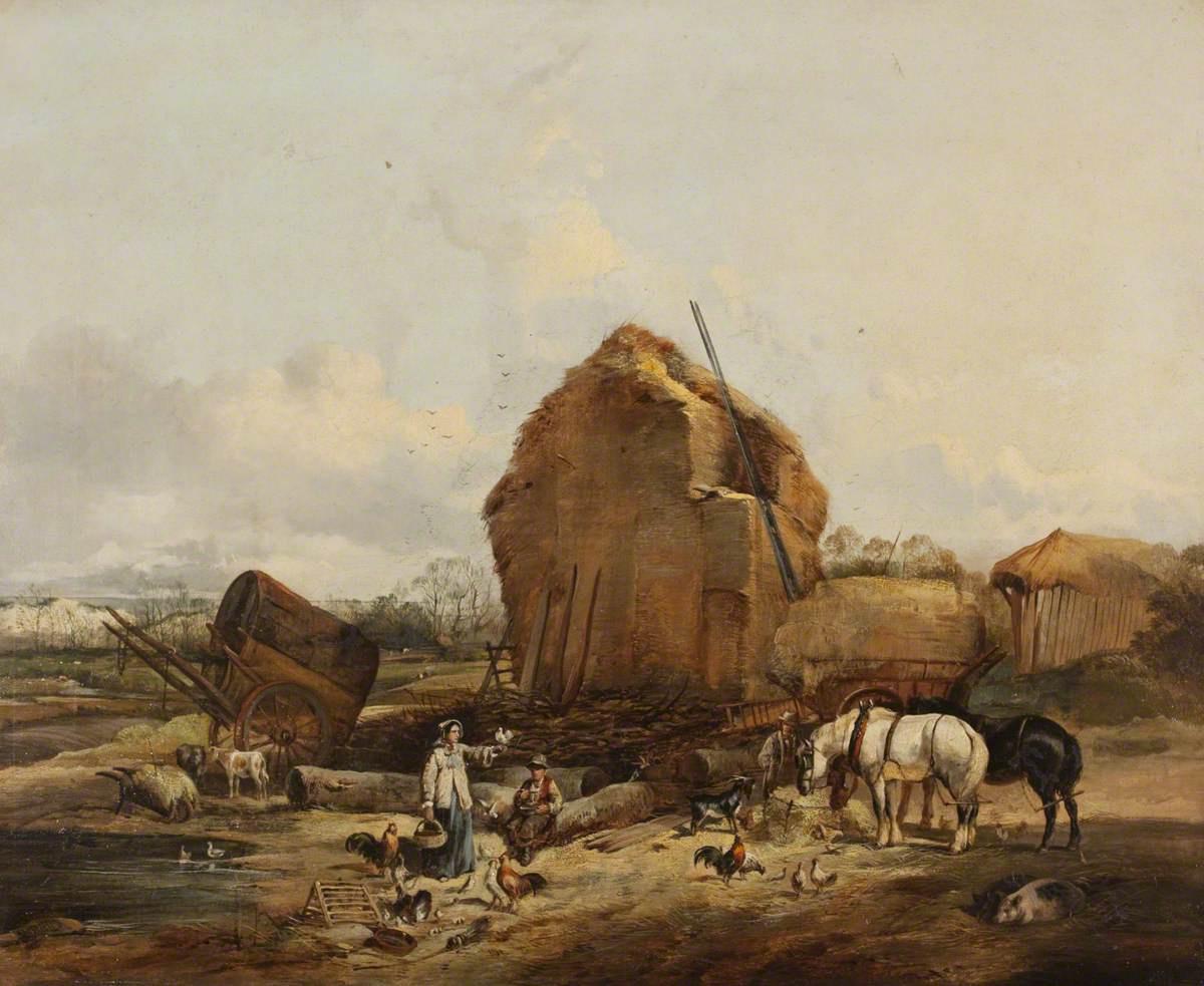 Уильям Моррис. Пейзаж с крестьянами и фермой