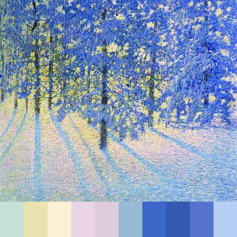 Leya Christmas. Igor Grabar. Winter morning. Palette. Collage
