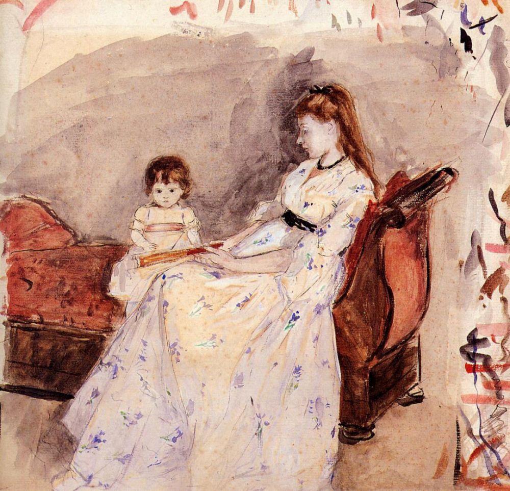 Берта Моризо. Сестра художницы Эдма со своей дочкой Жанной