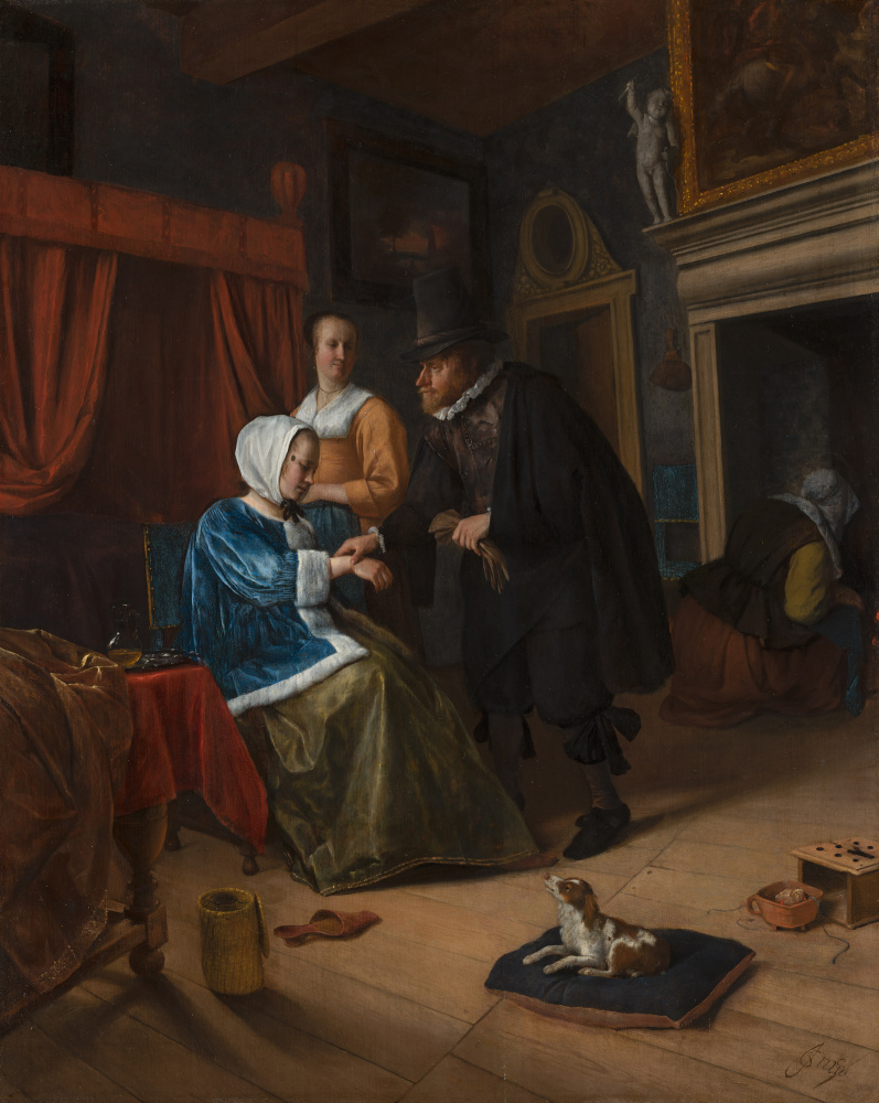 Jan Steen. Sick girl (The doctor`s visit)