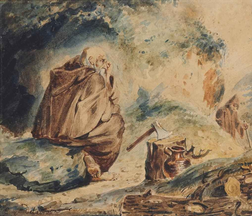 Eugene Delacroix. Two hermit at the entrance to the cave