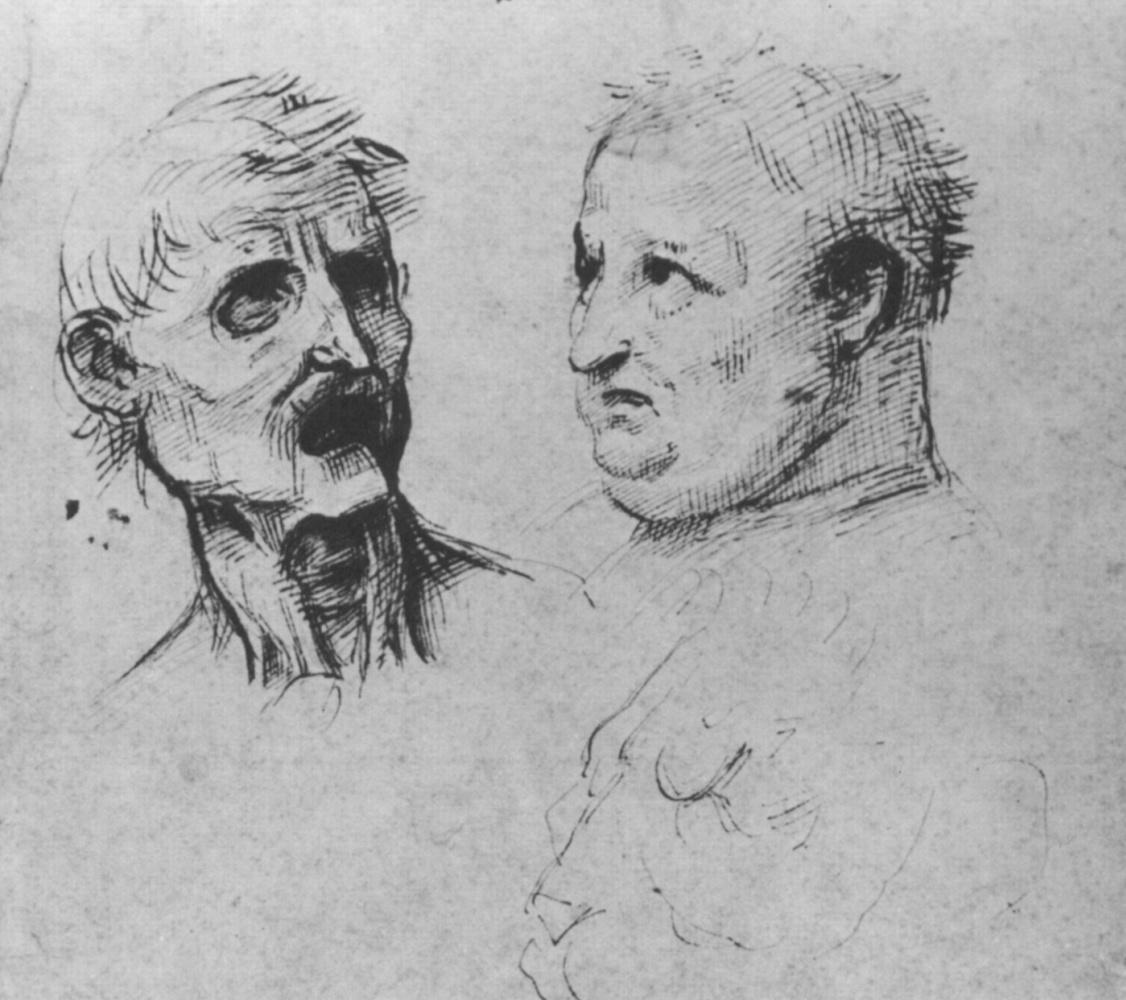 Raphael Sanzio. Sketches portraits of two men