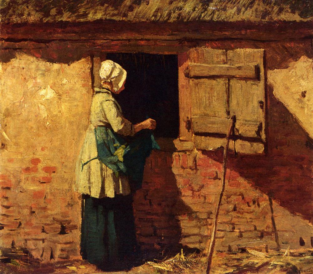 Anton Maouve. A farmer in the barn