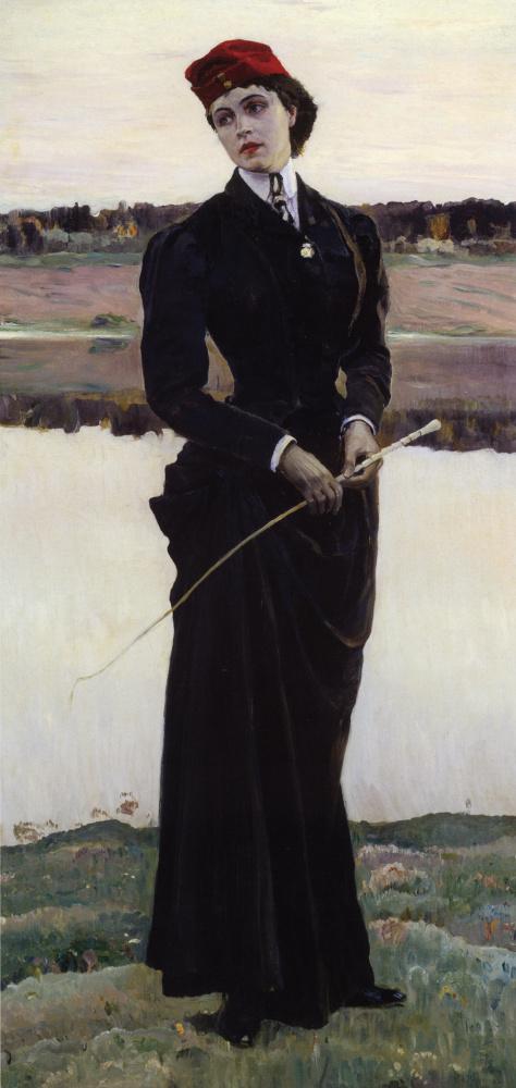 "Mikhail Vasilyevich Nesterov. A portrait of his daughter Olga Mikhailovna Nesterova (""Amazon"")"
