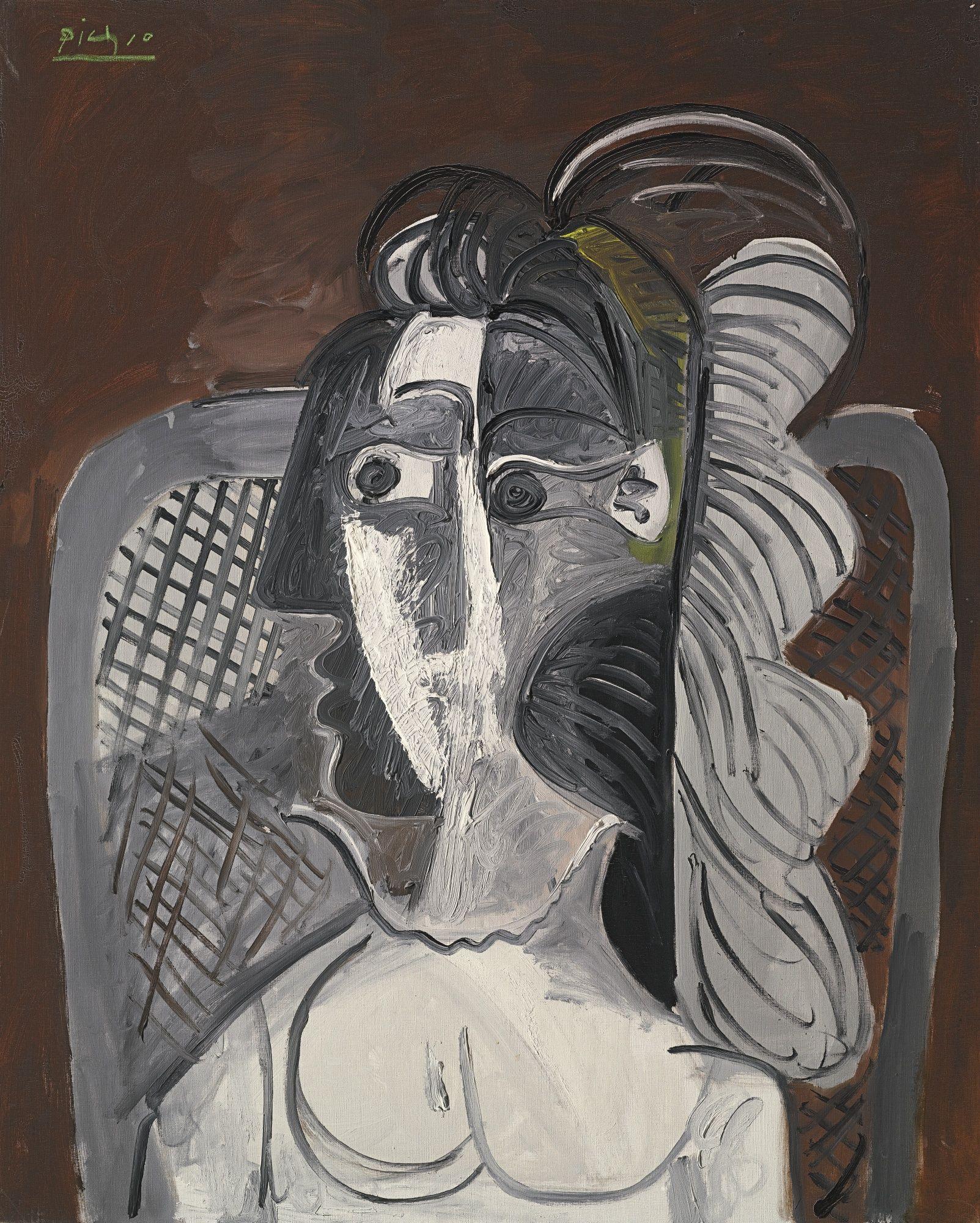 Пабло Пикассо. Женщина в кресле (Жаклин Рок)