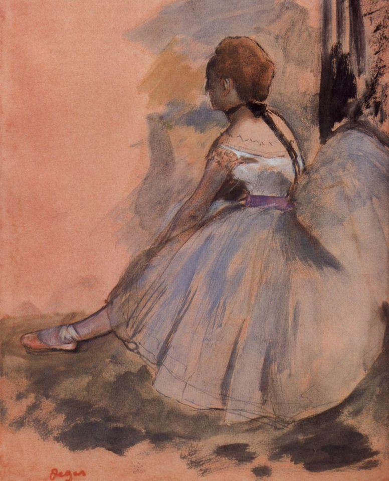 Эдгар Дега. Сидящая балерина с вытянутой левой ногой