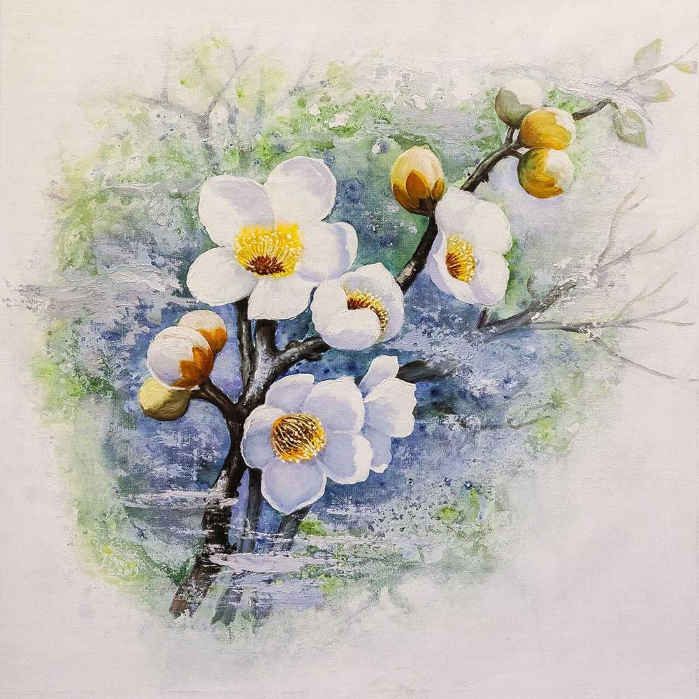 (no name). Flowering cherry branch