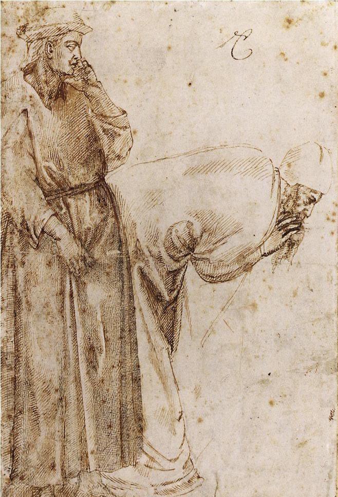 Микеланджело Буонарроти. Зарисовка композиции Джотто «Вознесение Иоанна Богослова»