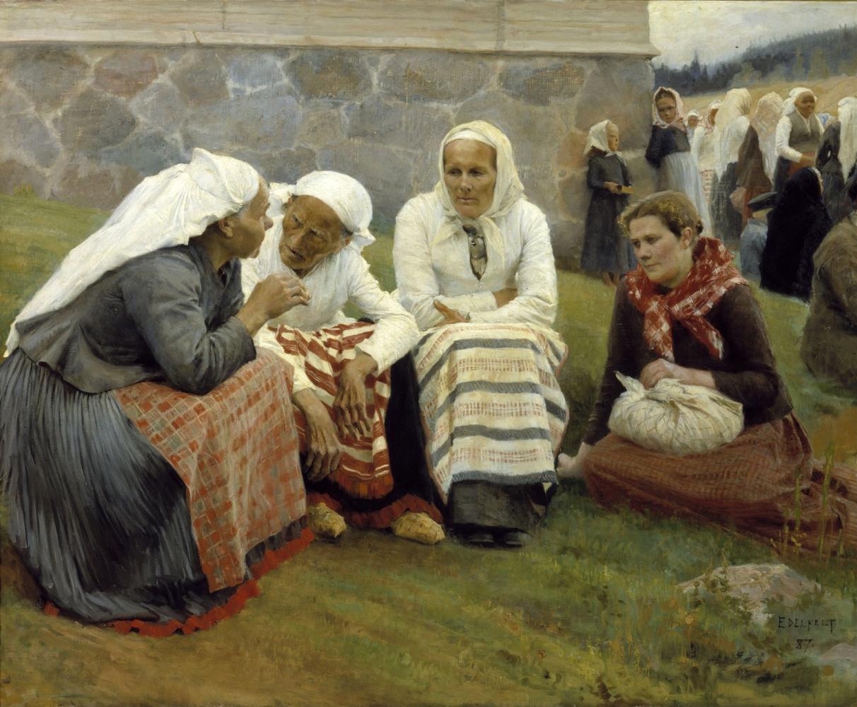 Albert Gustav Aristide Edelfelt. Women. Ruokolahti on the church hill. 1887