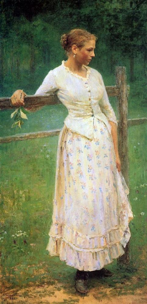 Девушка у изгороди