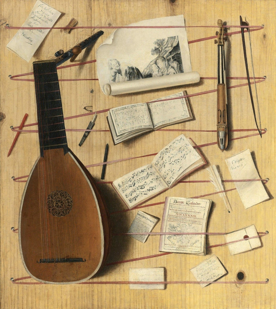 Cornelis Norbertus Gisbrehts. Trompe l'oeil with a mandolin, sheet music, etc
