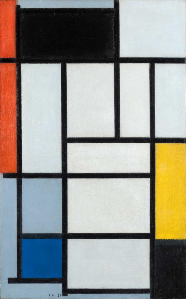 Piet Mondrian. Composition with red, black, yellow, blue and grey