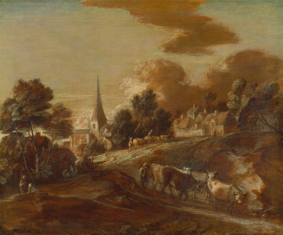 Thomas Gainsborough. Landscape with village and herd