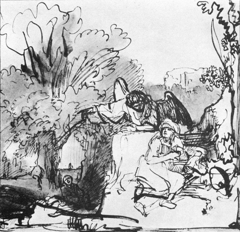 Рембрандт Ван Рейн. Ангел указывает Агари спасительный источник