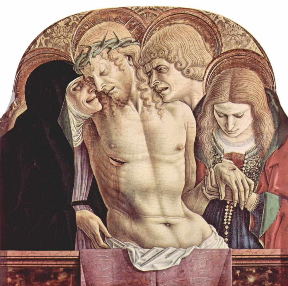 Карло Кривелли. Оплакивание Христа. Центральный алтарь кафедрального собора в Асколи, полиптих, навершие средней части