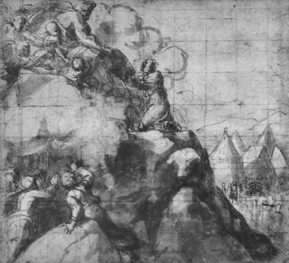 Рафаэль Санти. Моисей получает скрижали Завета. Эскиз к росписям Лоджий Ватикана