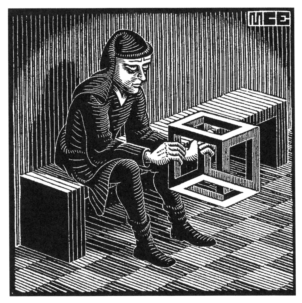 Maurits Cornelis Escher. Man with a cube