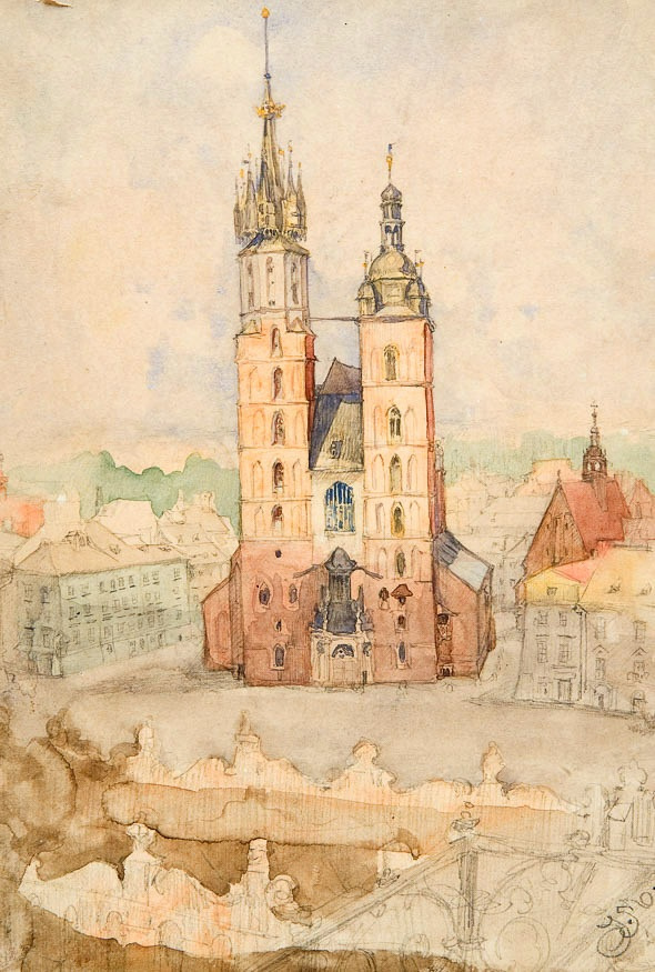 Jan Matejko. View from the tower of the town hall. Sketch