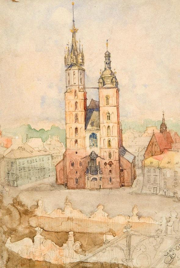 Ян Матейко. Вид с башни ратуши. Эскиз