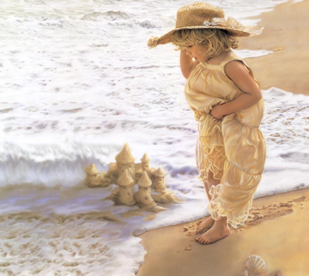 Рисовать новый, вода и дети открытки