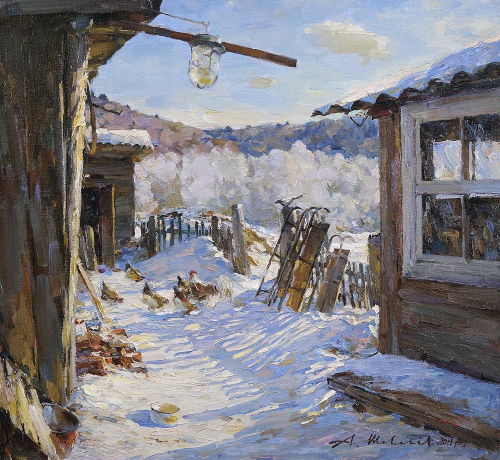 Alexander Victorovich Shevelyov. Winter noon.Oil on canvas 40,5 # 43,7 cm 2011