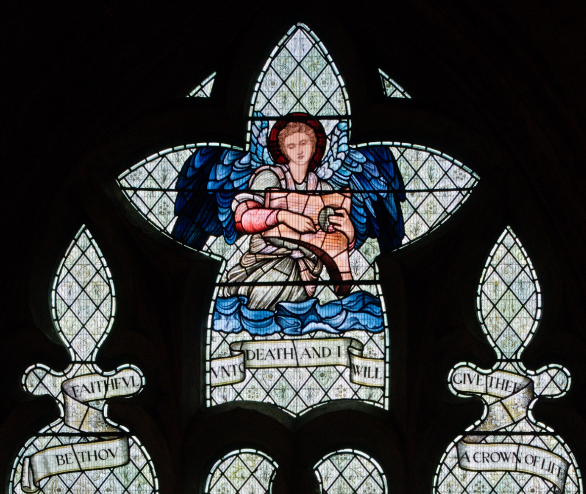 "William Morris. ""Window of Lucy,"" a stained-glass window of the church of the abbey of Malmesbury. Fragment"
