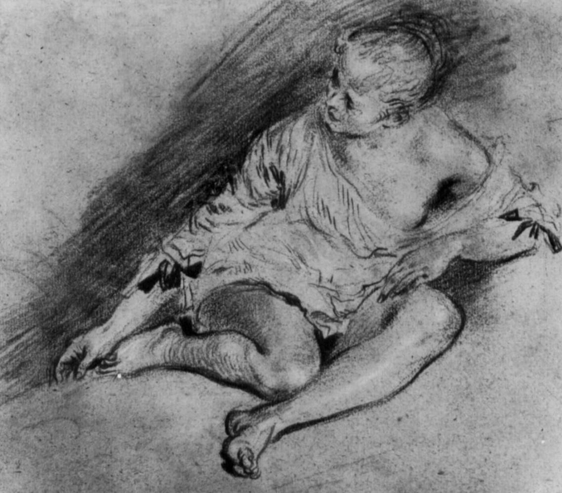 Антуан Ватто. Сидящая молодая женщина в рубашке