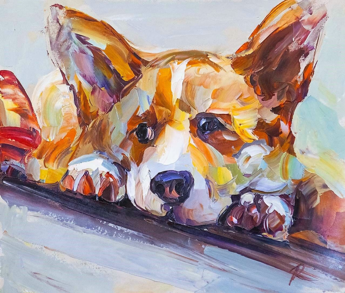 "Jose Rodriguez. Oil painting ""Corgi. Waiting for the owner N6"""