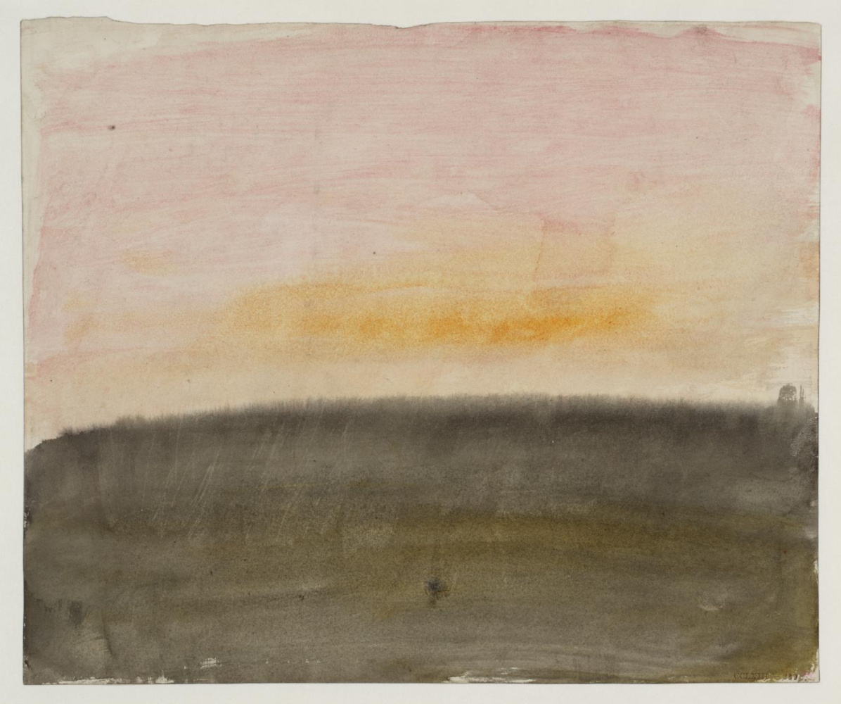 Joseph Mallord William Turner. Dawn or sunset sky over a landscape