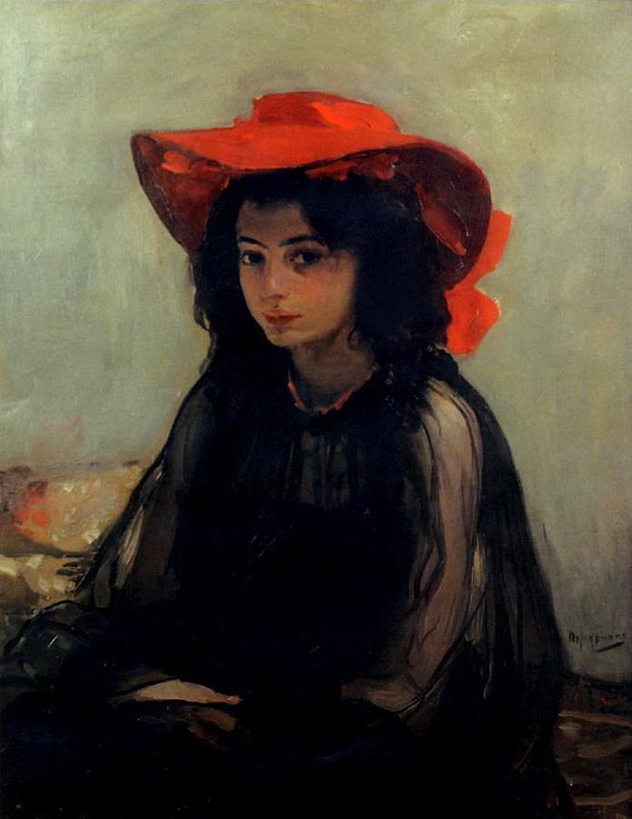 Александр Александрович Мурашко. Портрет девушки в красной шляпе