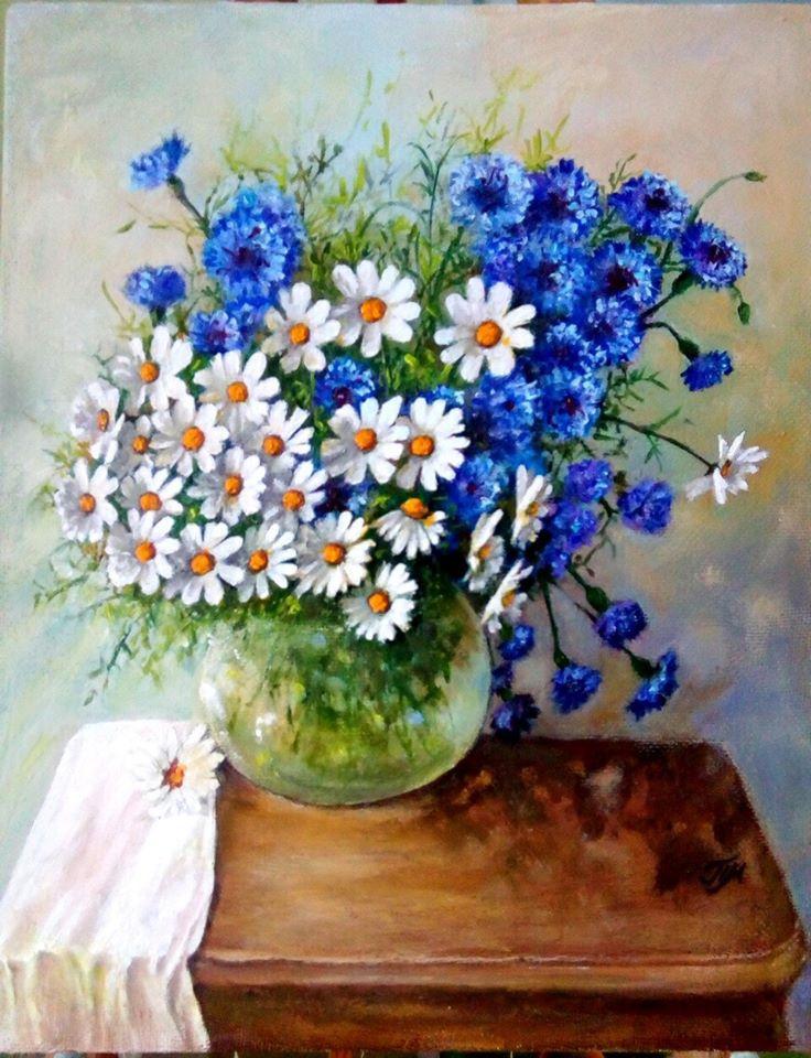 Marina Vladimirovna Patrikeeva. Bouquet of daisies with cornflowers