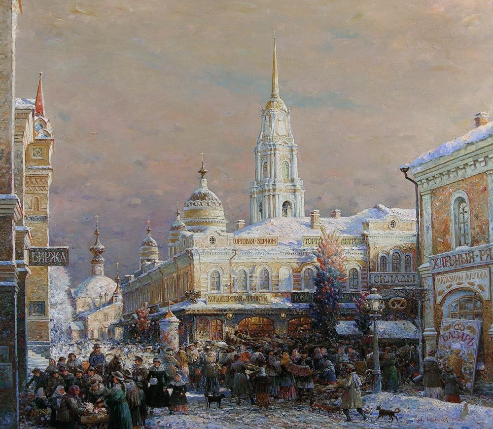 Alexander Victorovich Shevelyov. Market on red square. Oil on canvas 86 x 98 cm. 2005