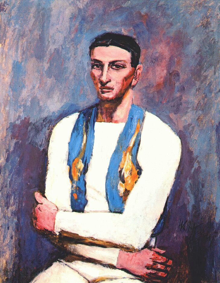 Walt Kun. Acrobat in white and blue