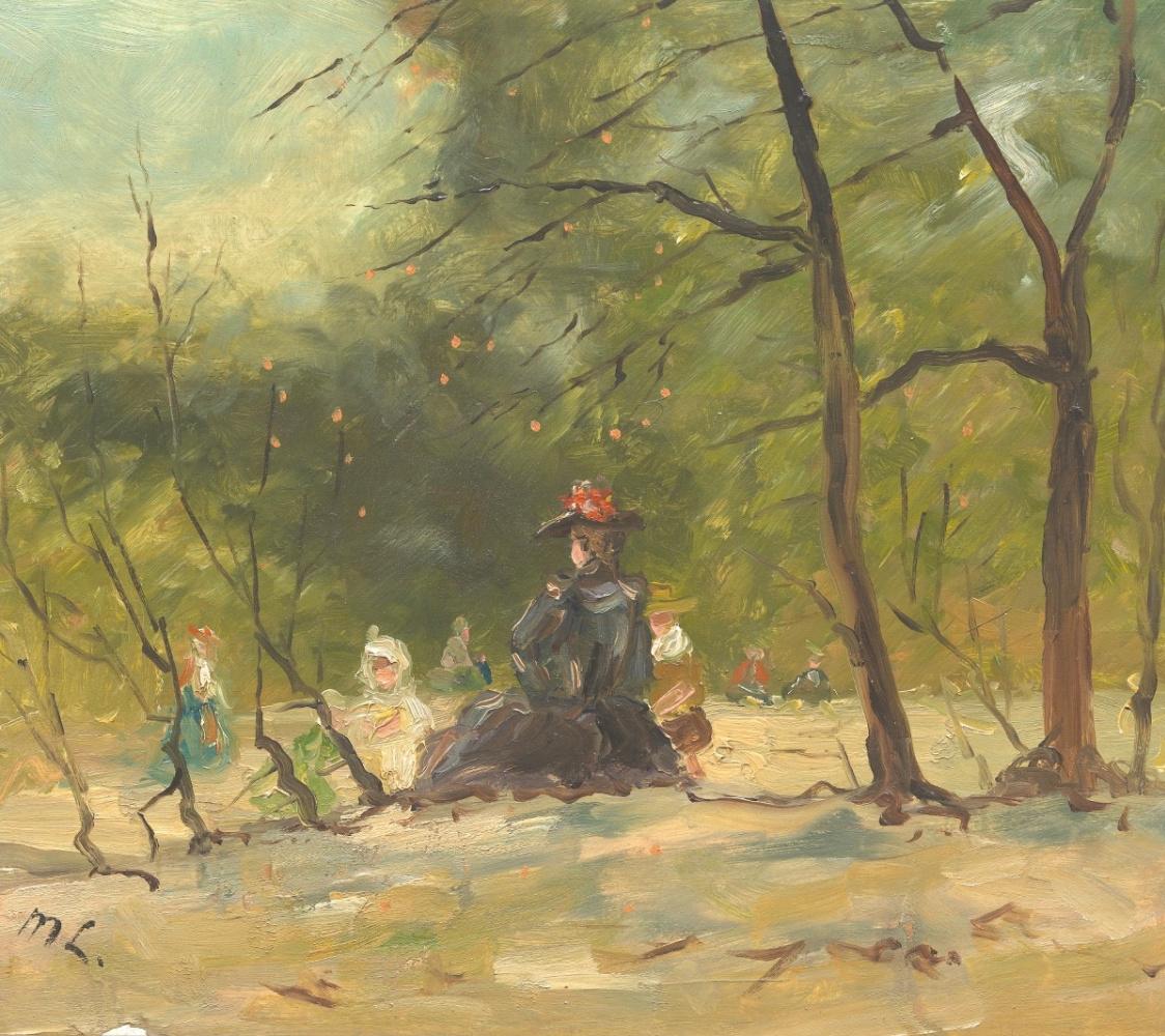 Михаил Федорович Ларионов. Женщина с детьми в парке