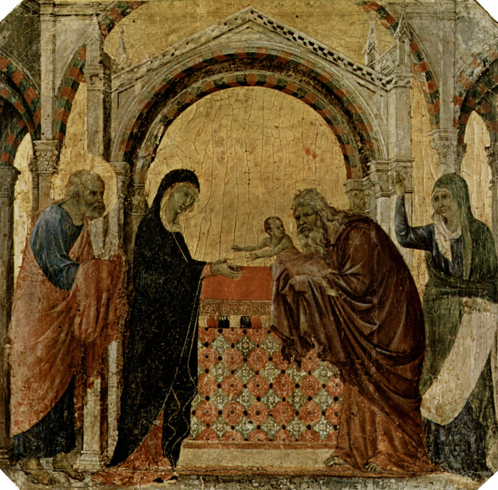 Дуччо ди Буонинсенья. Маэста, алтарь сиенского кафедрального собора, передняя сторона, пределла со сценами из детства Иисуса и пророками, Сретение
