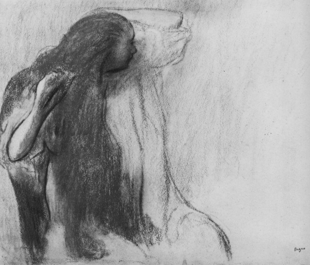 Edgar Degas. Seated girl, her hair