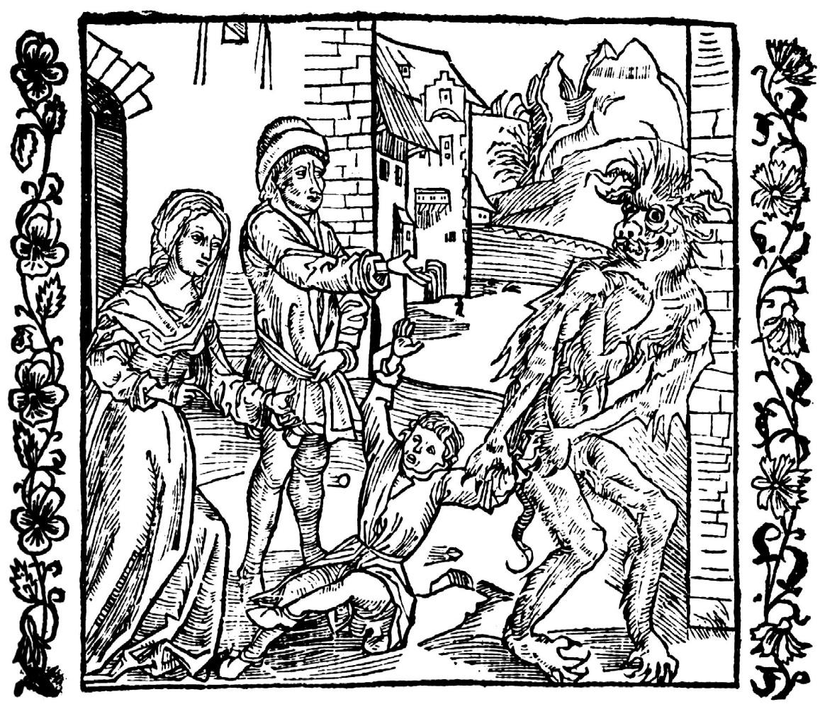 """Альбрехт Дюрер. Иллюстрация к книге """"Рыцарь де ля Тур"""". В гневе родители отдают своего ребёнка дьяволу"""