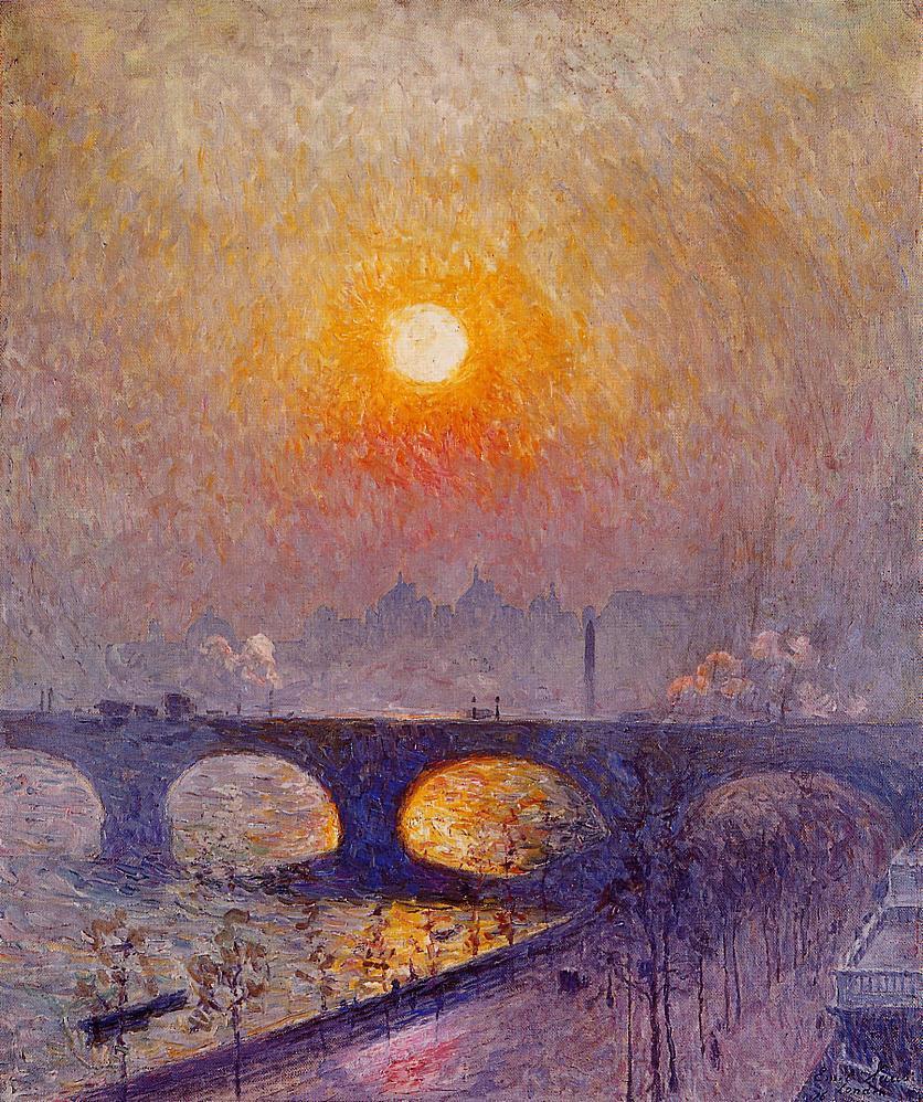 Emil Klaus. Sunset over Waterloo Bridge