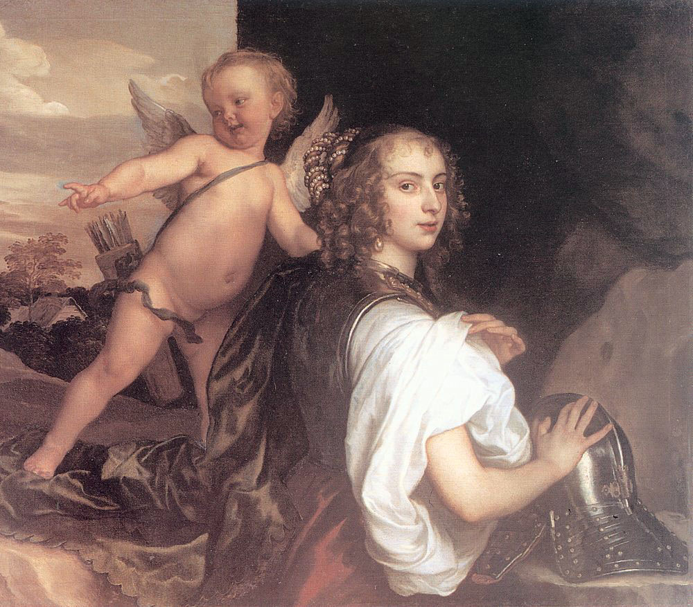 Anthony van Dyck. Portrait of a girl in the image of Erminia accompanied by Cupid