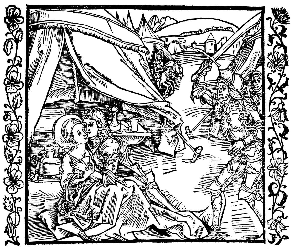 """Альбрехт Дюрер. Иллюстрацияк книге """"Рыцарь де ля Тур"""". Рыцарь-израильтянин убивает соплеменника, застигнув его с язычницей"""