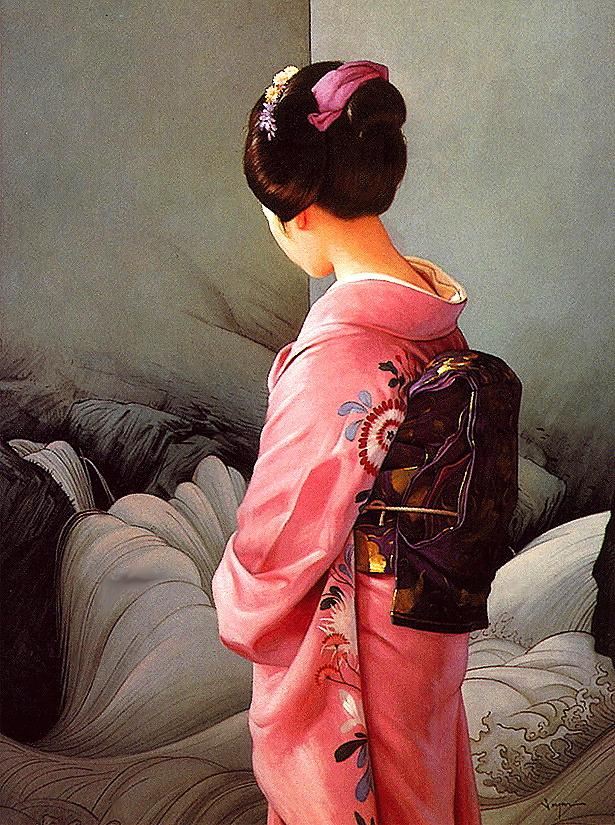 Сергон. Девушка в кимоно