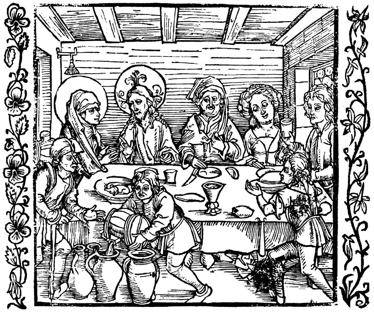 "Albrecht Dürer. Illustration for the book ""the Knight de La Tour"". The wedding at Cana"