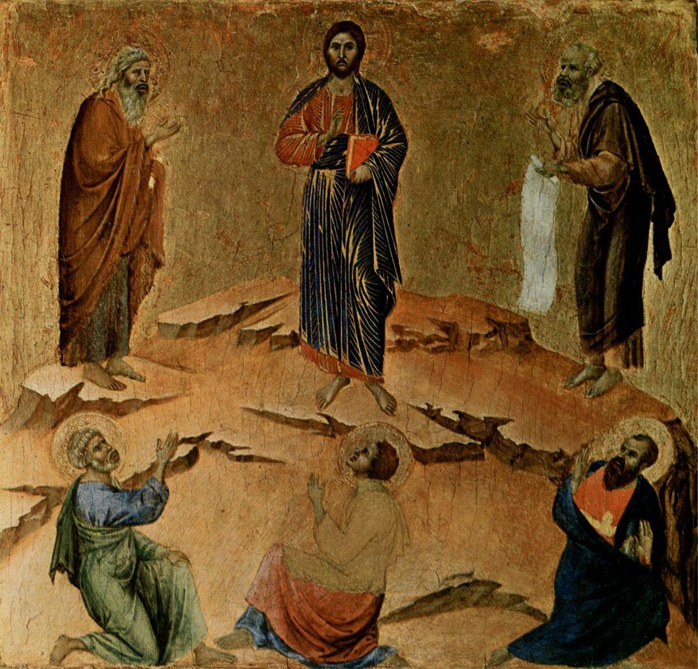 Дуччо ди Буонинсенья. Маэста, алтарь сиенского кафедрального собора, оборотная сторона, пределла со сценами Искушения Христа и Чудесами