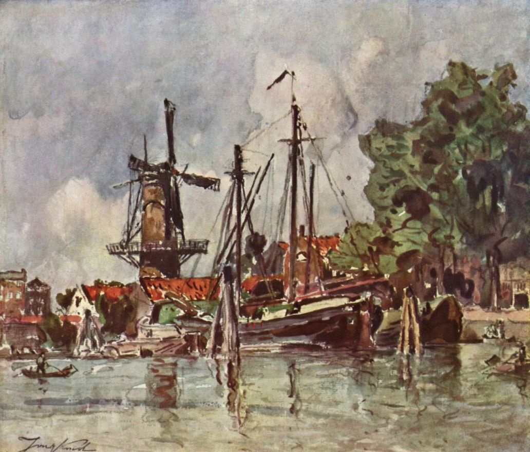 Ян Бартолд Йонгкинд. Деревня Доверсхи в Голландии