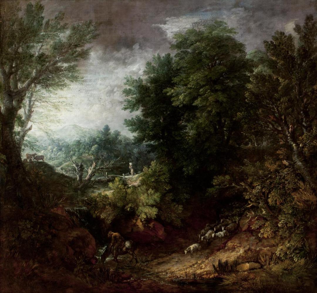 Томас Гейнсборо. Лесной пейзаж с овцами у ручья